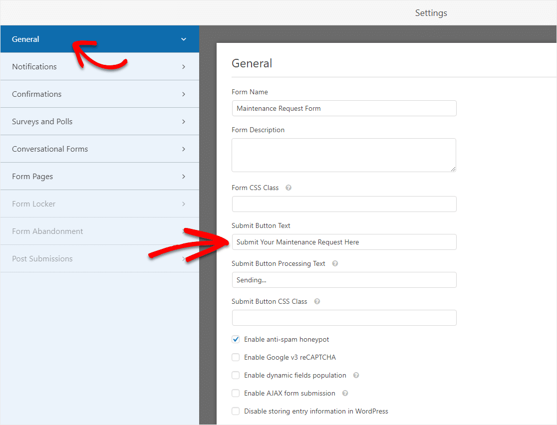 maintenance request form template settings