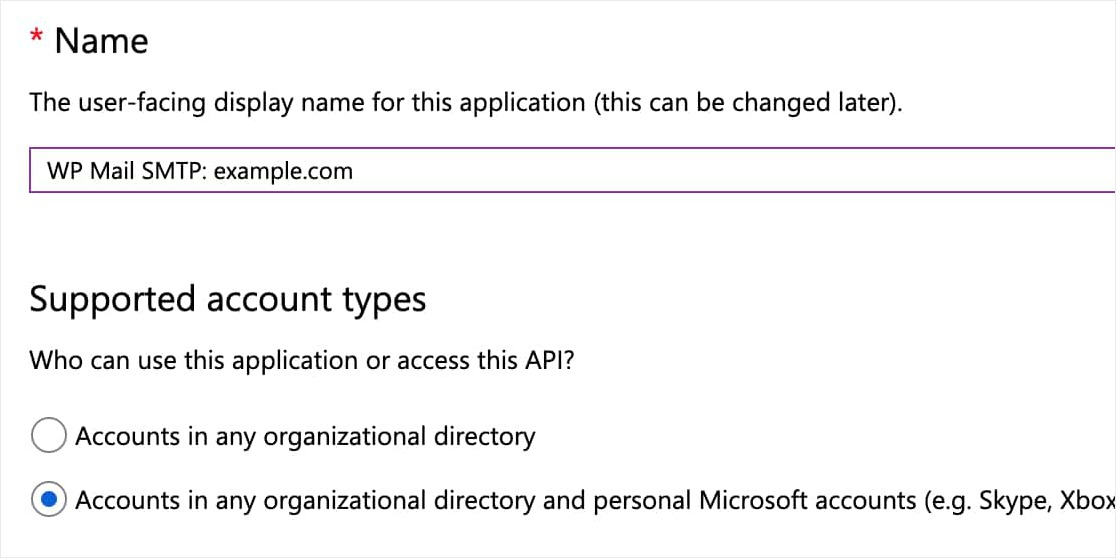 microsoft app registration form example