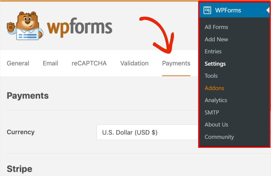 open the payments tab in the wpforms settings