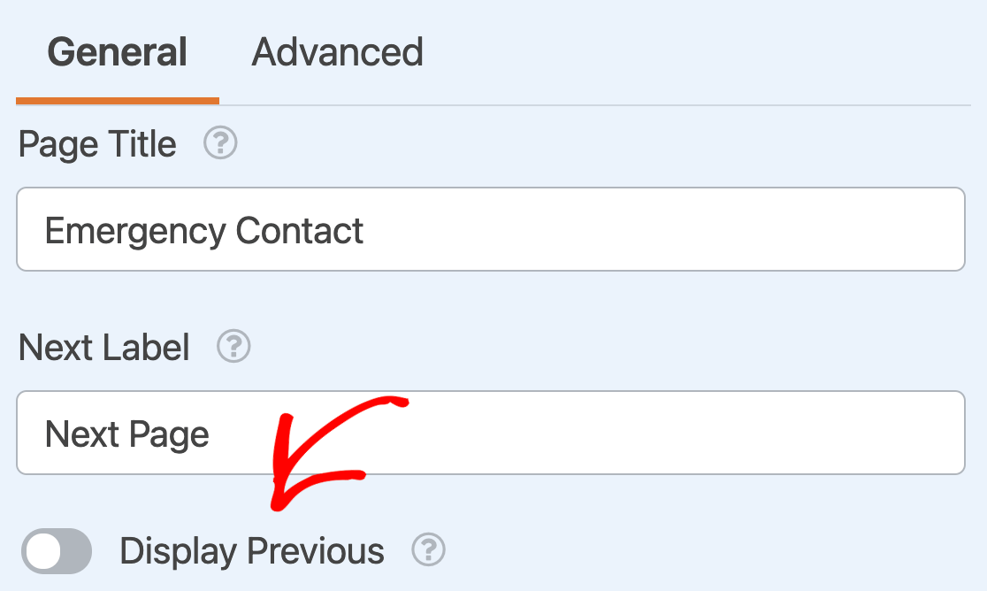 Enabling the Previous button