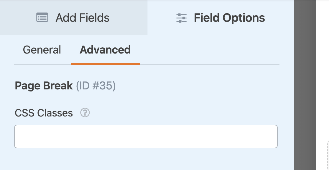 The Page Break field CSS classes option