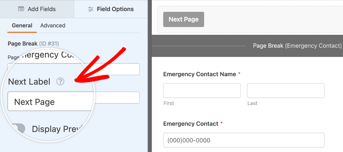 Changing the Next button text