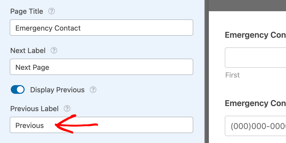 Editing the Previous button text