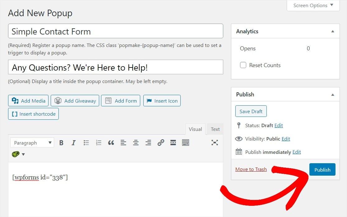 publish wordpress popup form