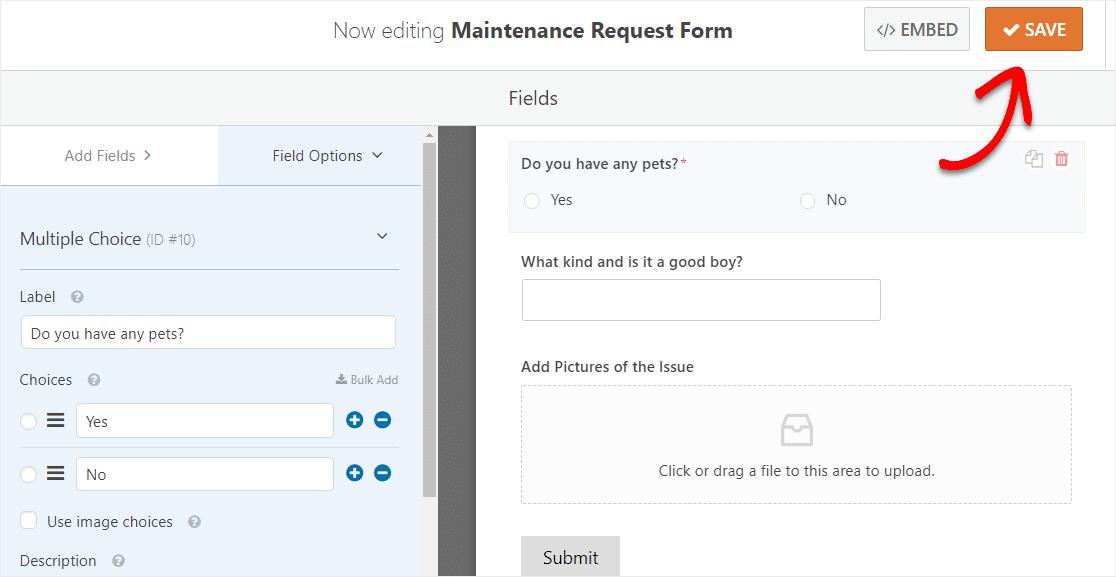 save maintenance request form