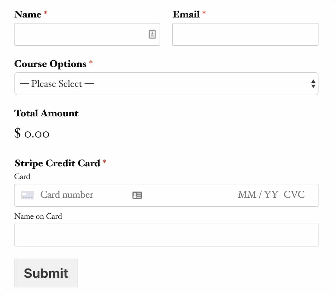 stripe payment order form example