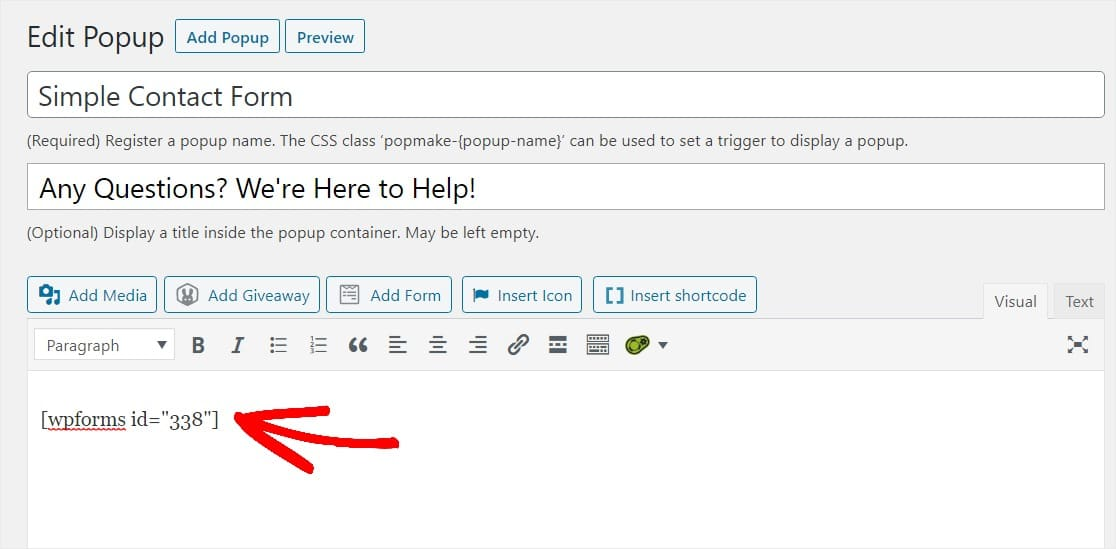 wpforms shortcode for form in wordpress popup form