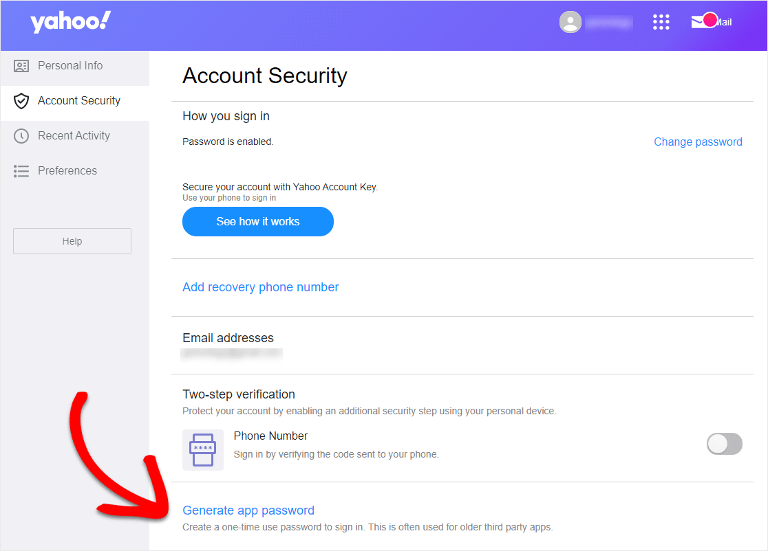 yahoo account security screen for if wordpress contact form not sending email