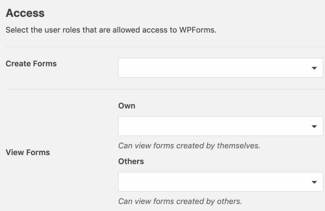 Access Controls in WPForms