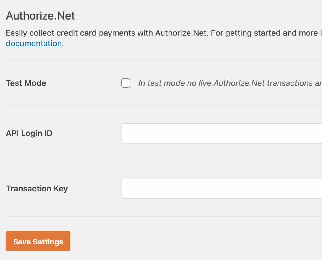 Authorize.Net 정보 입력 - 워드프레스 연동