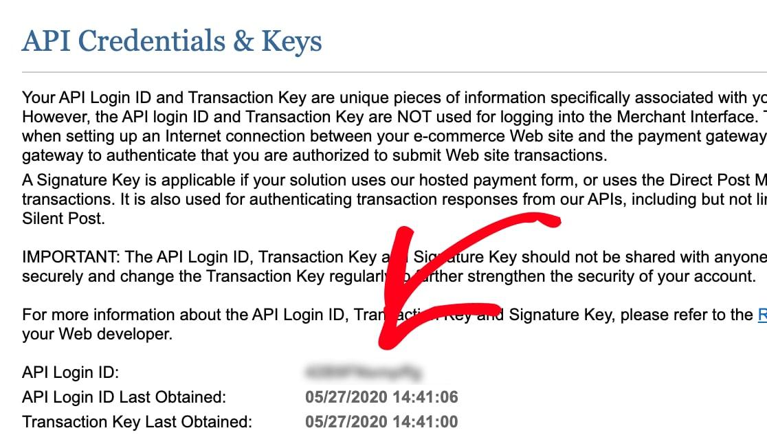Copy API Login ID from Authorize Net account