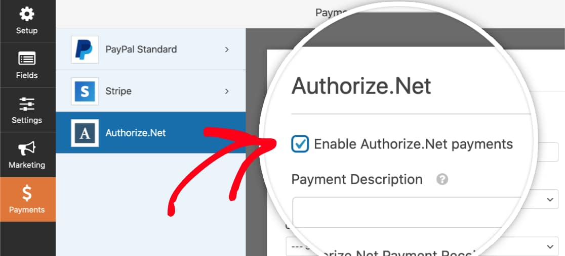 Enable Authorize Net payments in form
