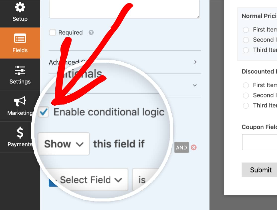 Enable conditional logic for a field in WPForms