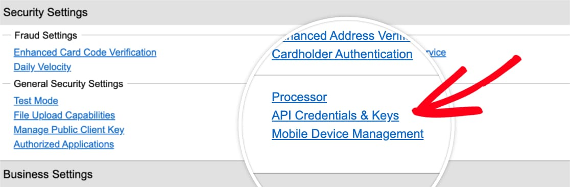 Open API Credentials and Keys page in Authorize Net account