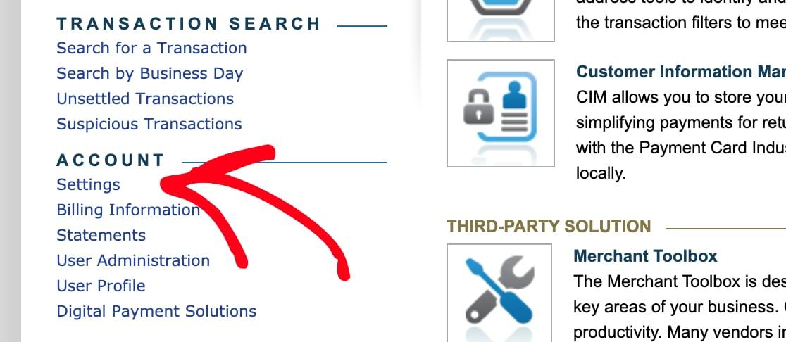 Open Authorize Net account settings