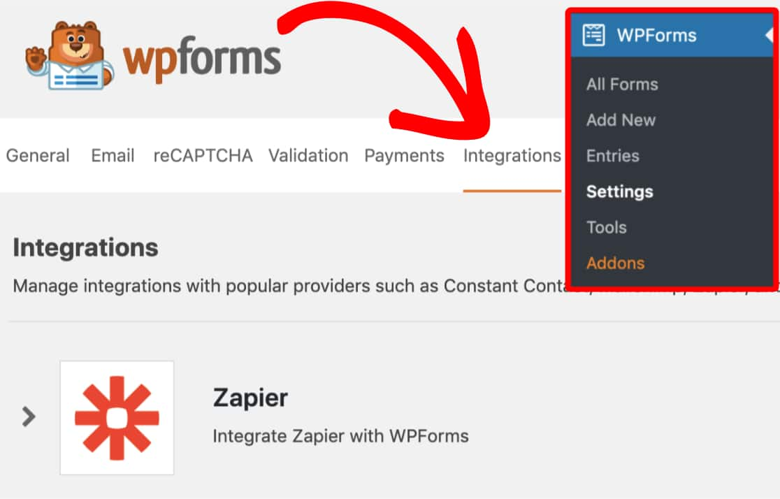 Open the WPForms integration settings
