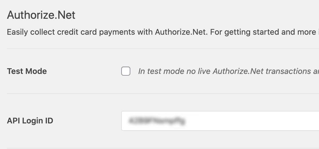 Paste API Login ID into WPForms settings