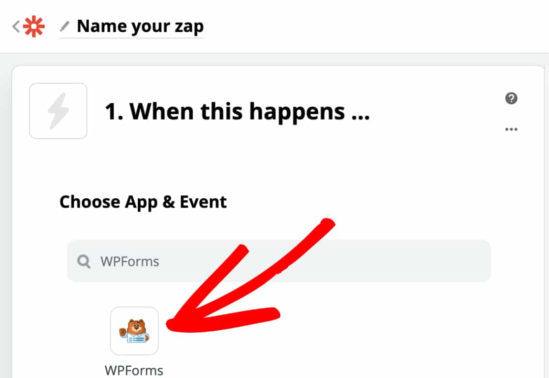 Select WPForms as the Trigger App in Zapier