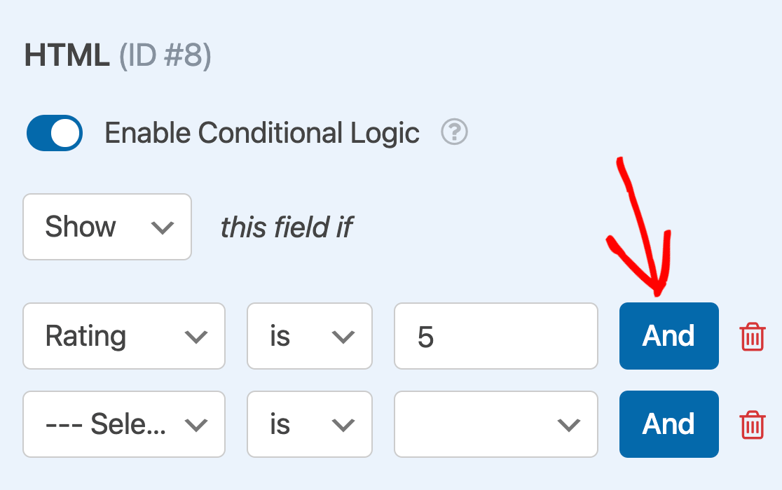 Adding an AND conditional logic rule