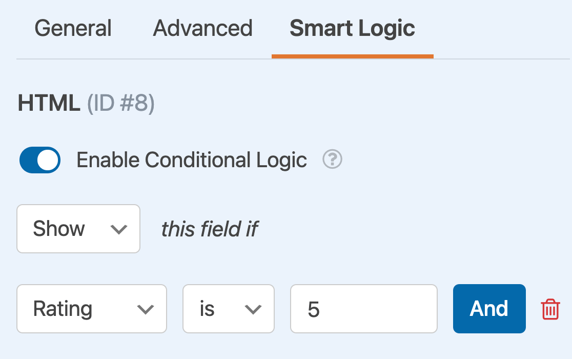 Adding a conditional logic rule to an HTML field