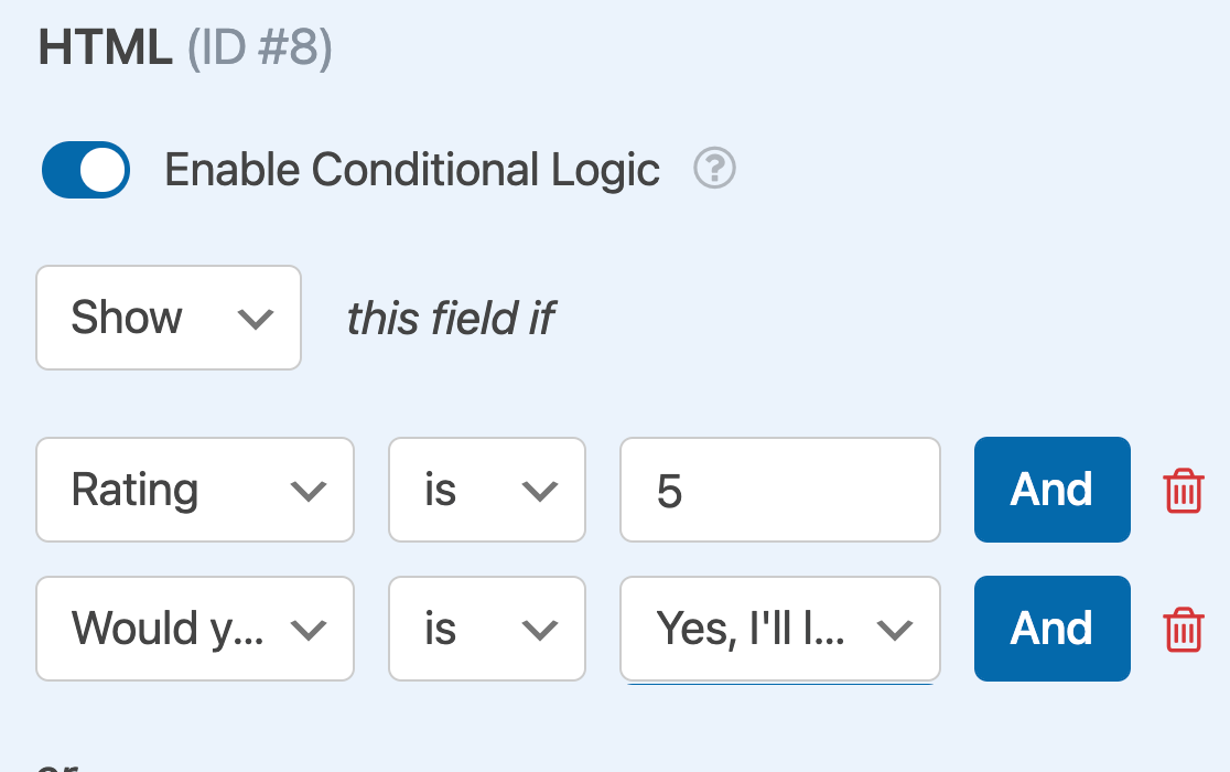 Adding a second AND conditional logic rule