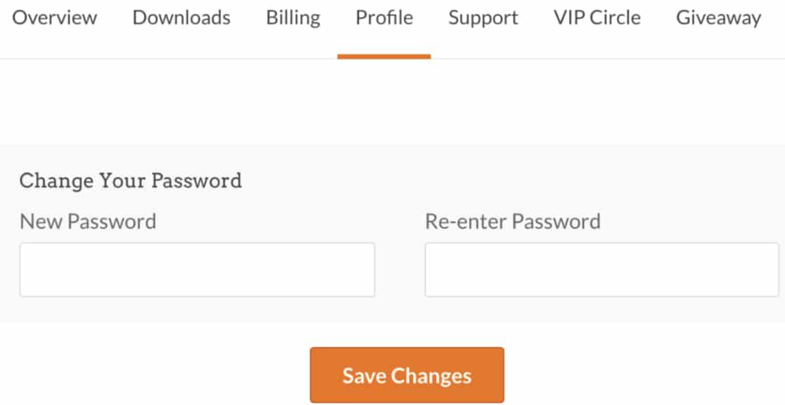 Change Password in WPForms