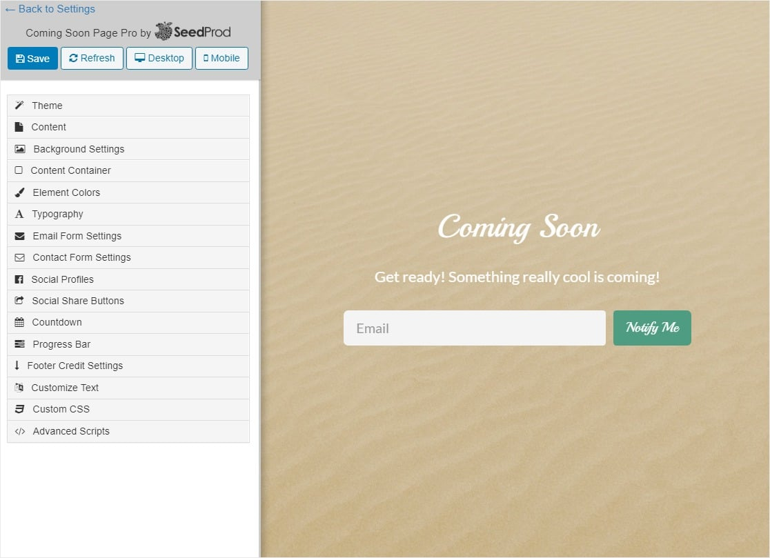 coming soon page basic starting point