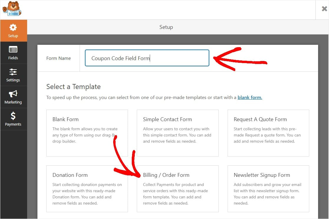 coupon code field form creation