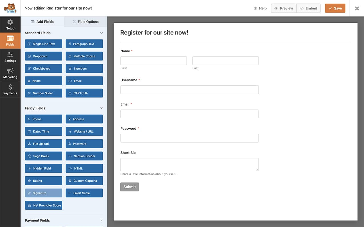 create your user registration form with WPForms