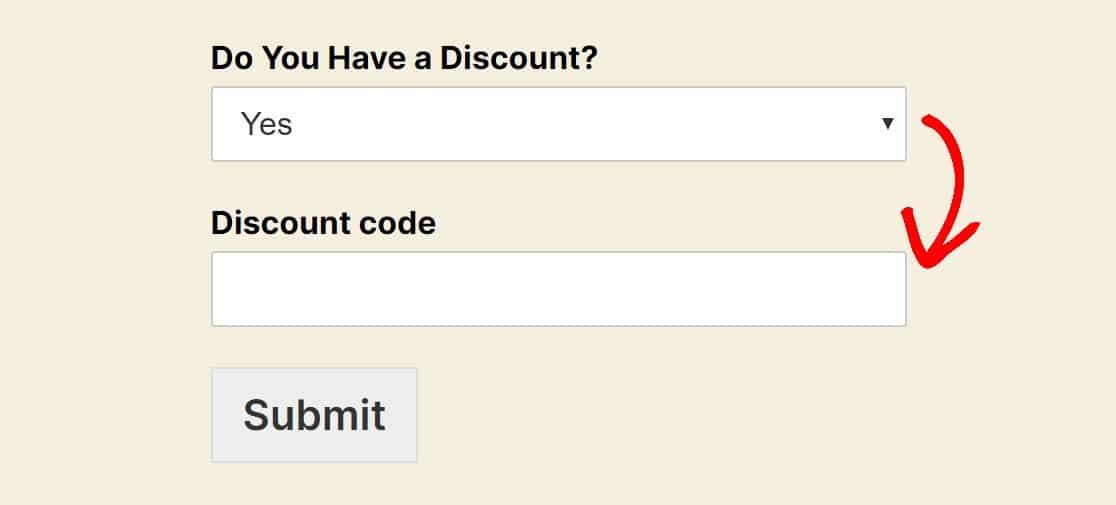 display discount code field