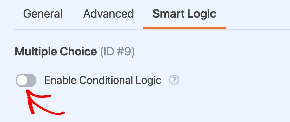 Enabling conditional logic for a field