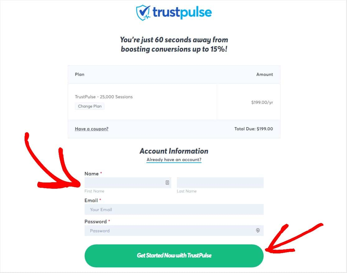 fill out trustpulse info