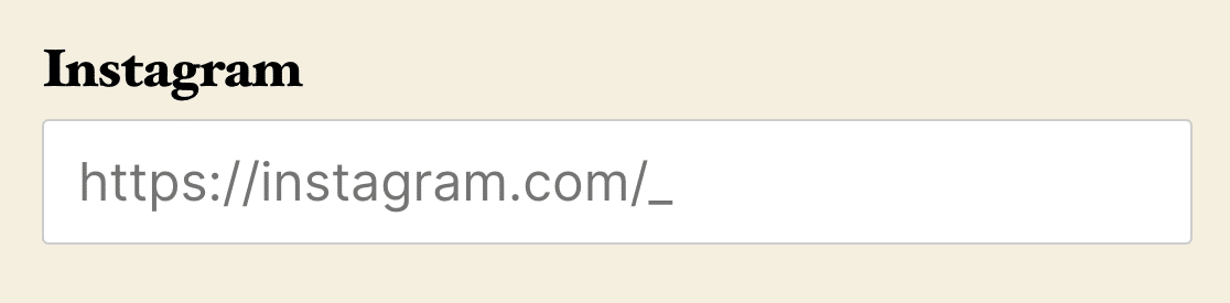 An example of an input mask for an Instagram URL with special characters escaped on the frontend