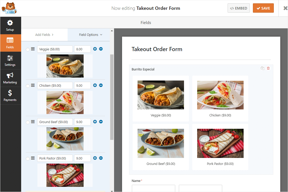 online order form with images for restaurant (1)