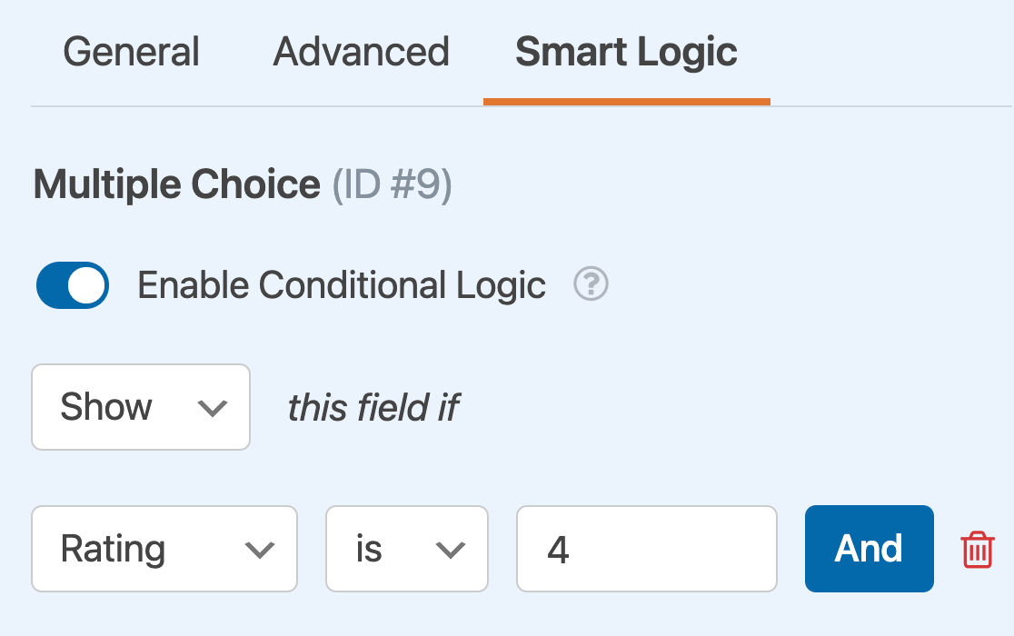 Creating a conditional logic rule