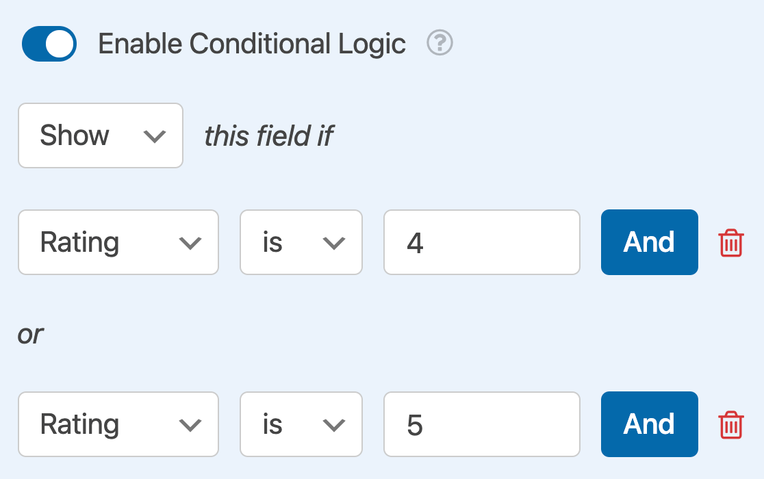 Adding an OR conditional logic rule