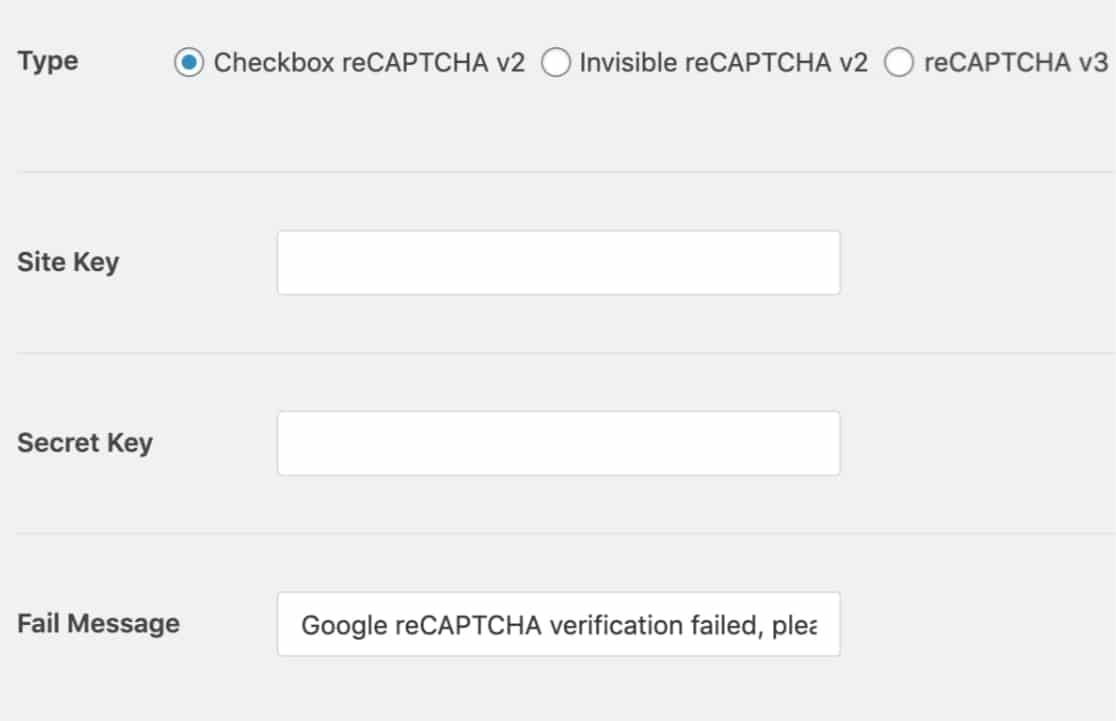 Set up keys for reCAPTCHA in WPForms