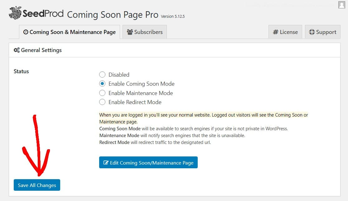 save all changes how to create a coming soon page in wordpress
