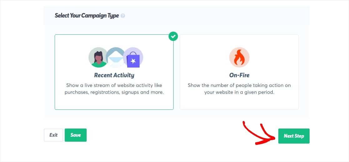 select your trustpulse campaign type