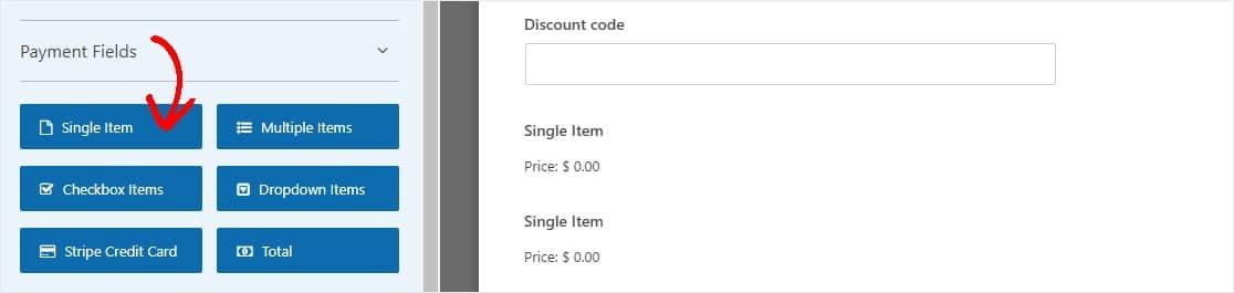single item on form