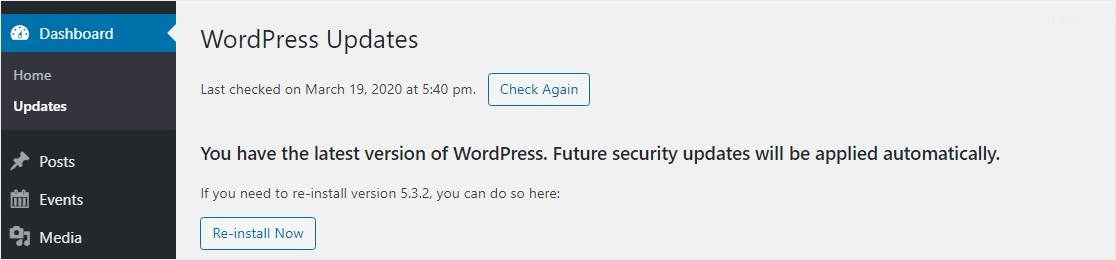 update to the latest version of wordpress