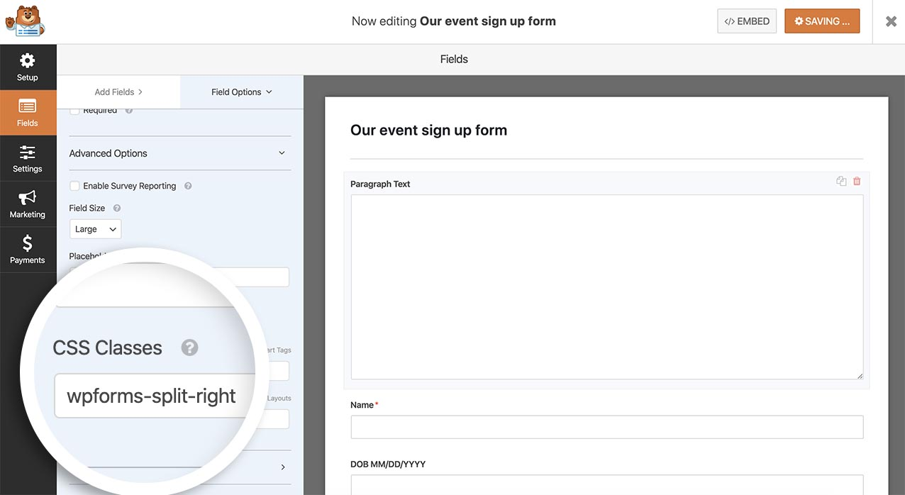 Add the CSS class to float the comment box to the right of the other form fields