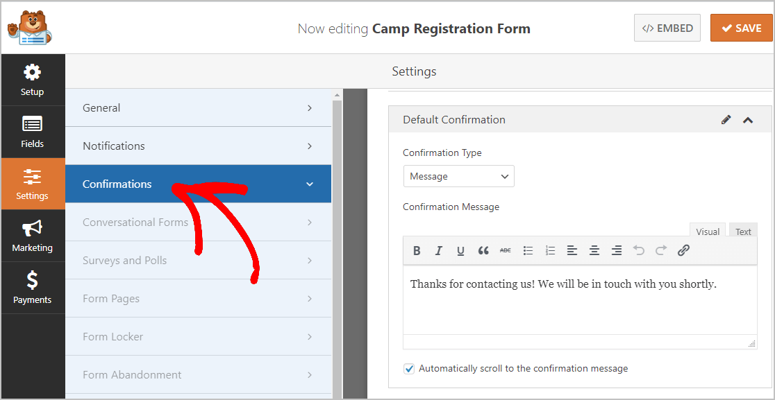 Camp Registration Confirmations