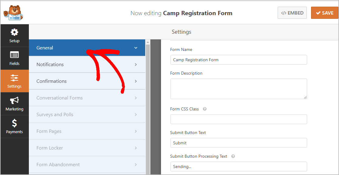 Camp Registration Form General