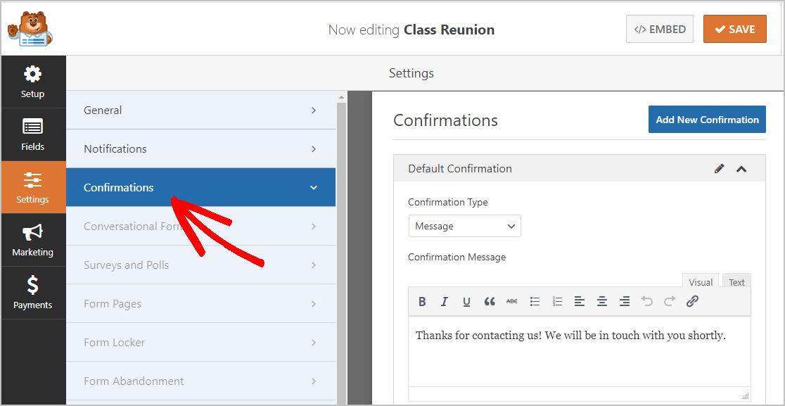 Class Reunion Confirmations