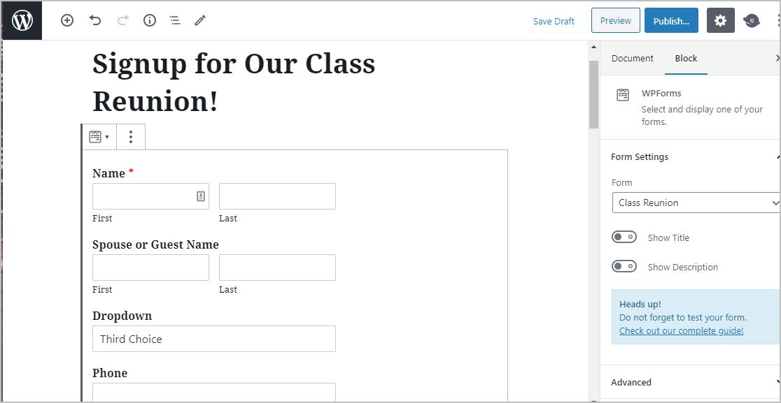 Class Reunion Form Preview
