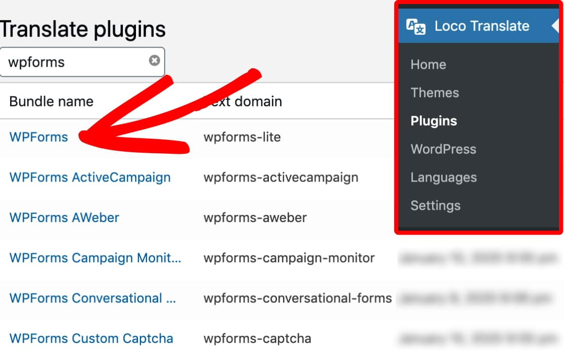 Find the WPForms plugin within Loco Translates plugin list