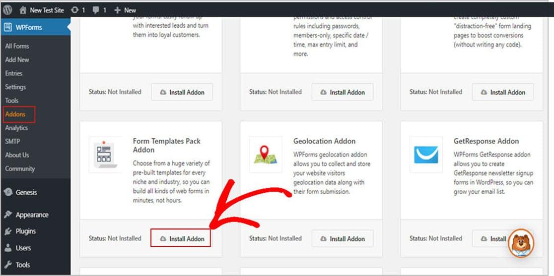 Install WPForms Addon