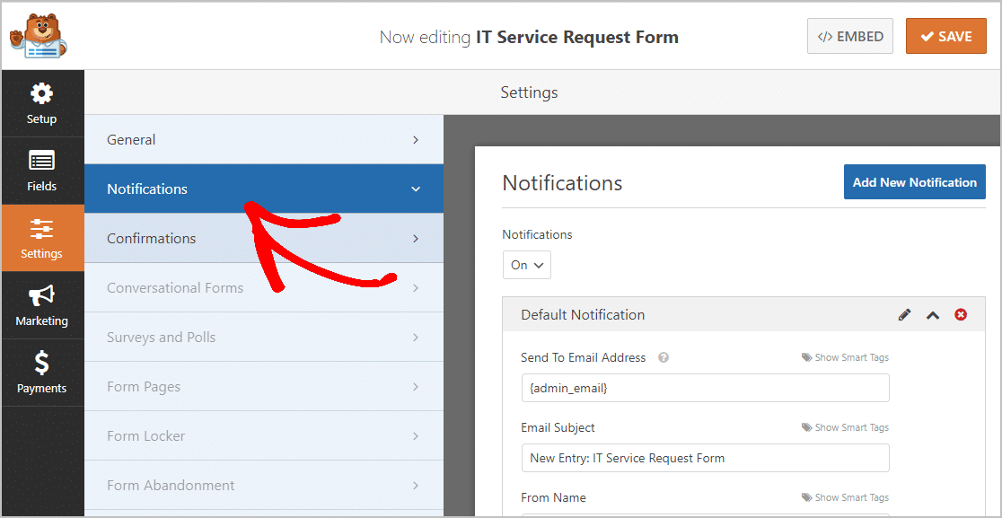 Notifications IT Service Request Form