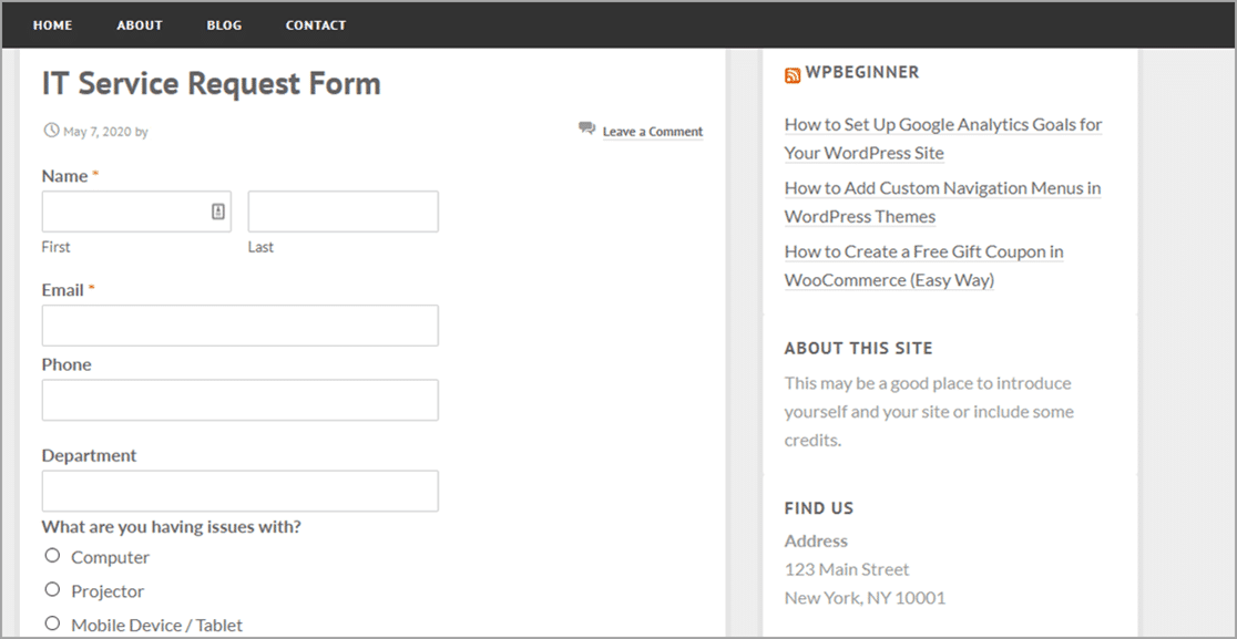 Online IT Request Form on Page